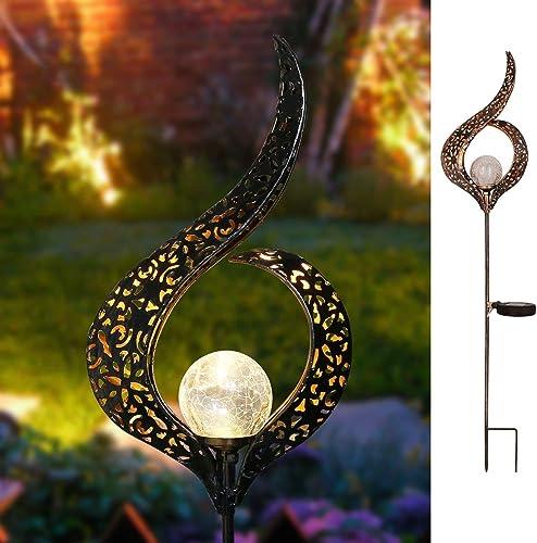 Homeimpro Outdoor Solar Lights Garden Crackle Glass Globe Stake Lights,Waterproof LED Lights for Garden,Lawn,Patio or...