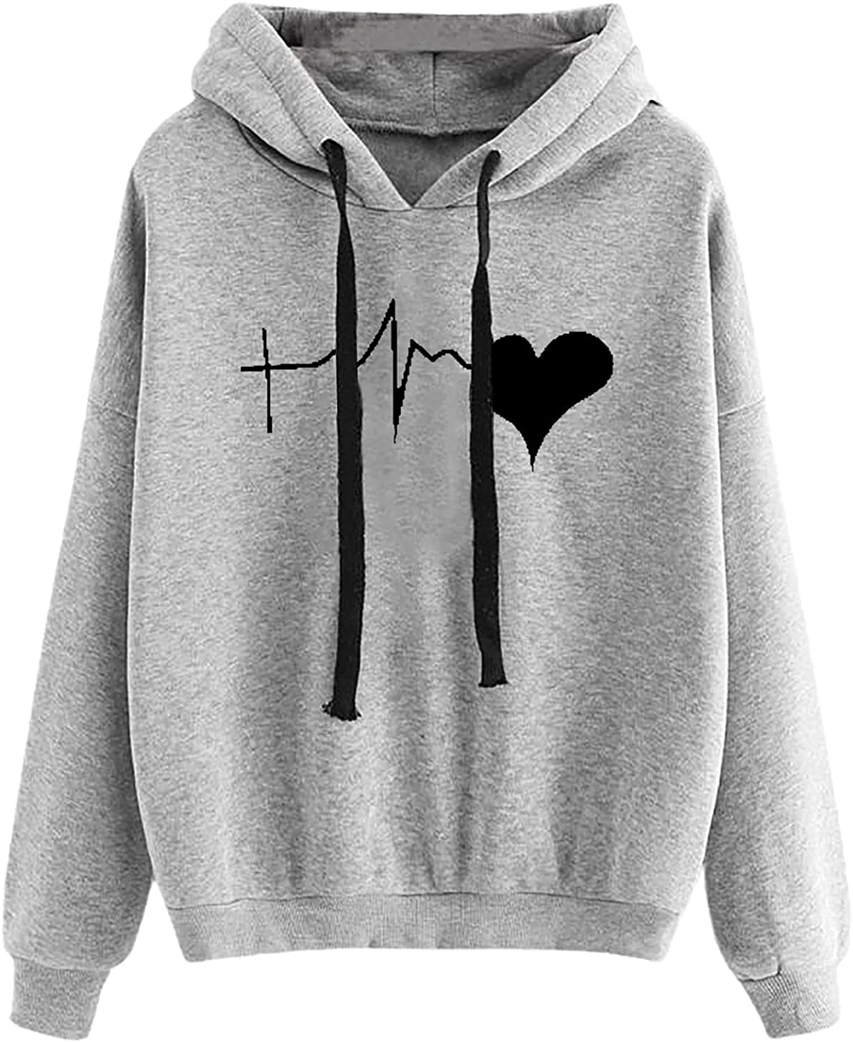 Women's Pullover Plus Size Tops Long Sleeve Sweatshirt Heart Print Casual Blouse Classic Loose Pullover