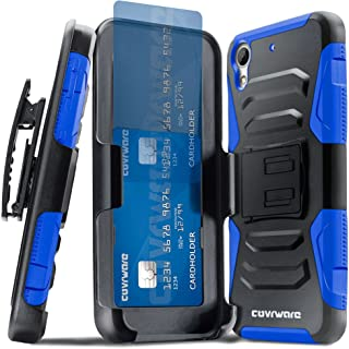 COVRWARE HTC Desire 626 / 626s - Heavy Duty [Shock-Absorption] Armor Holster Case with Built-in Credit Card/ID Slot and Kickstand Locking Belt Swivel Clip [Screen Protector] - Blue (CW-D626-H02)