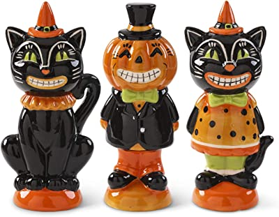 K&K Interiors 41601A Assorted 6.25 Inch Vintage Inspired Halloween Figurines (3 Styles), Black and Orange