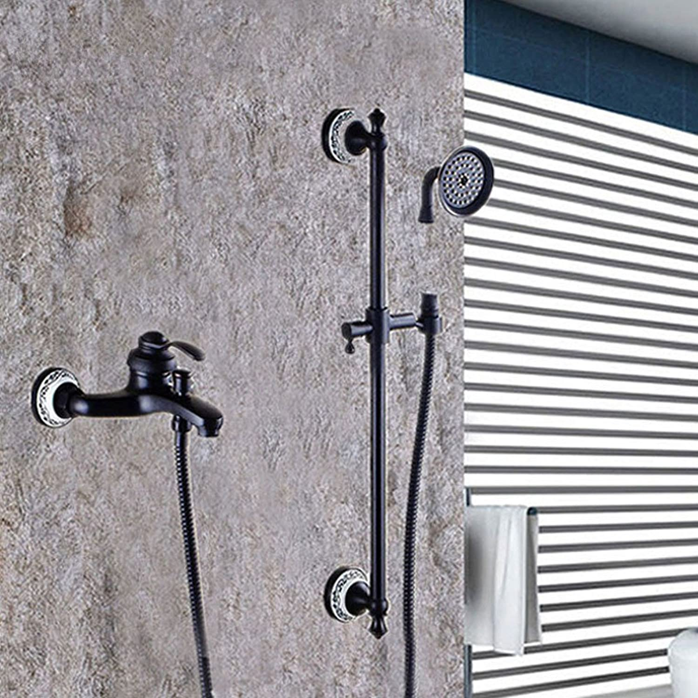 ZQ@QXThe Copper Black bronze continental retro showers kit,)