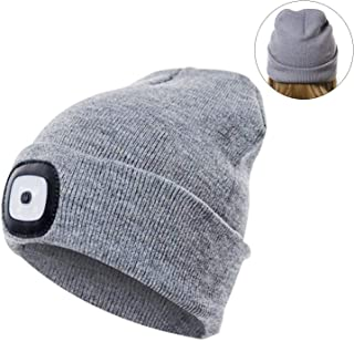 BGJOY Hat with Light Led Cap Light Rechargeable LED Head Lights Unisex LED Knitted Flashlight Beanie Hat Cap for Hunting Camping Grilling Auto Repair Jogging Walking Handyman Working Christmas Gray