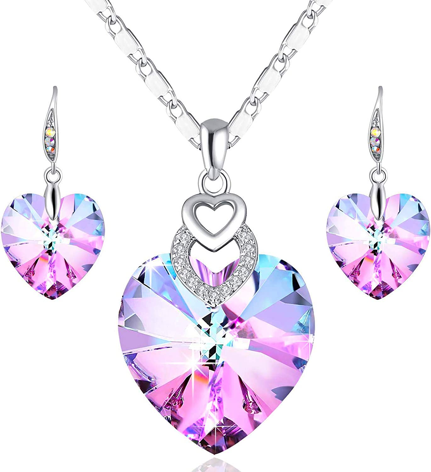 PLATO H 3 Heart Jewelry Set Crystals Christmas Gift for for Women Girls Pendant with Elegant Box Anniversary Mothers Day Gifts for her