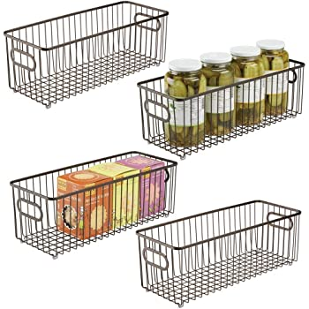 color bronce Organizadores de cocina compactos y universales con asas mDesign Juego de 2 cestas de metal Vers/átil cesto de alambre para cocina o despensa