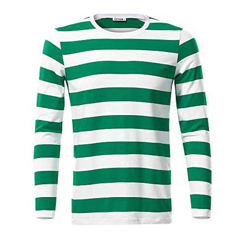 8c944710b3513 VETIOR Mens Basic Striped Long Sleeve Casual Cotton T-Shirt