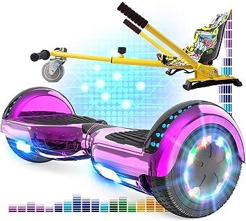 RCB Hoverboard 6.5 y Hoverkart Overboard con Bluetooth Patinete Eléctrico Scooter con Luces LED Asiento Sólido Juguete para Niños