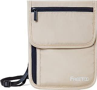 FREETOO パスポートケース RFIDブロッキング素材 首下げ セキュリティポーチ 軽量 肌触り良い パスポートバッグ 海外旅行/出張/貴重品保管などに適応 全5色