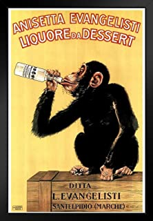 Anisetta Evangelisti Liquore Da Dessert Vintage 1925 Italian Advertising Chimpanzee Black Wood Framed Art Poster 14x20