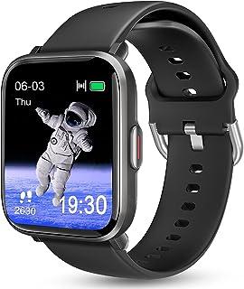 Reloj inteligente para teléfonos Android iOS, KALINCO Reloj de natación con monitor de frecuencia cardíaca, contador de calorías, 5ATM impermeable rastreador de fitness con monitor de sueño, brújula, reloj inteligente para hombres y mujeres