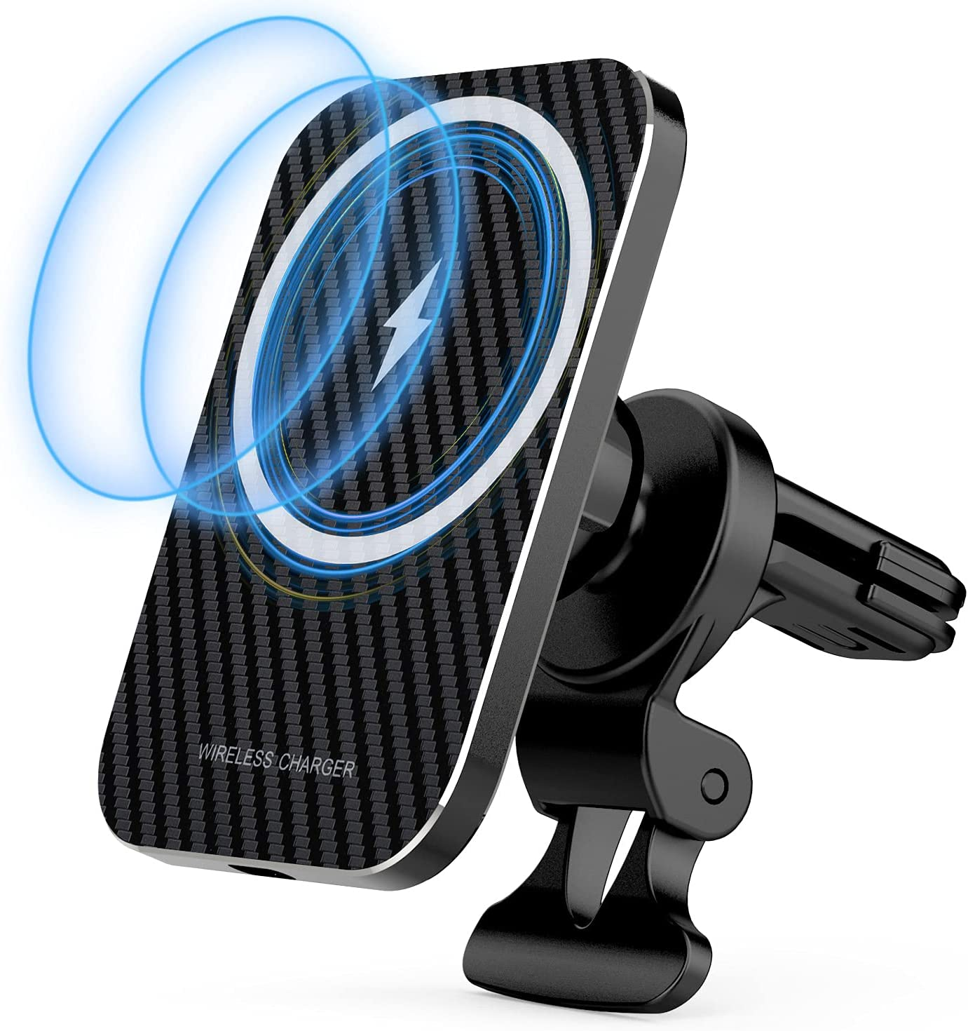 Magnetic Wireless Car Charger for iPhone 12/12 Pro/ 12 Pro Max/ 12 Mini, Magnet Fast 15W Mag-Safe Car Charger Air Vent Mount (Keeps All iPhone 12 Models Magnetically Mounted While You Drive)