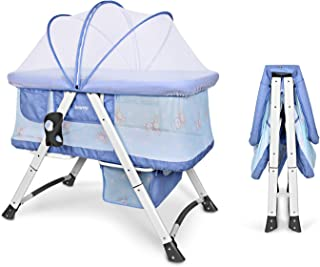 Besrey 2en1 Cama Infantil Ligera Cuna de Colecho Minicuna Plegable Mosquitera Cama con Colchón