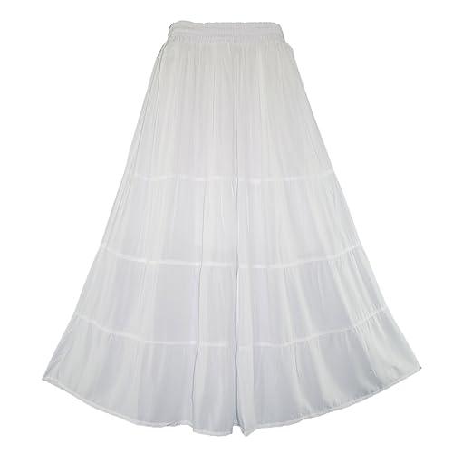 Beautybatik Boho Gypsy Long Maxi Tiered Skirt Plus Size 18 to 22