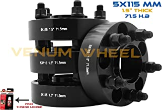 4 PC 5x115 MM Black Hub Centric Wheel Spacers Adapters 1.5