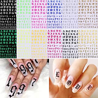 Letter Nail Art Stickers, Old English Nail Decals 3D Self-Adhesive Alphabet Number Nail Stickers Holographic Letter Nail D...