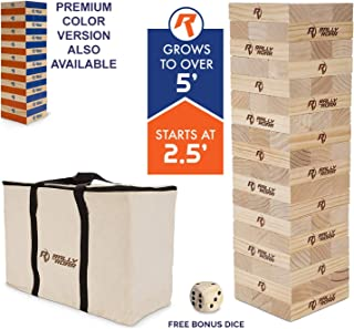 Rally and Roar Toppling Tower Giant Tumbling Timbers Game 2.5 feet Tall (Build to Over 5 feet)– Classic Wood Version - for Adults, Kids, Family – Stacking Blocks Set w/Canvas Bag