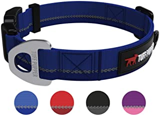 Hero - Heavy Duty Dog Collar | Tough Dog Collar | Reflective Dog Collar with Aluminium D-Ring Leash Clip | Separate Dog ID...