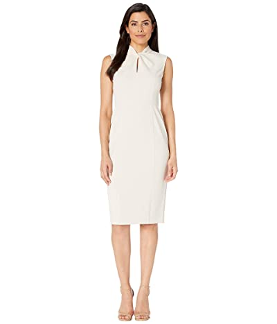 Donna Morgan Sleeveless Crepe Dress with Tie Knot Front (Horn) Women