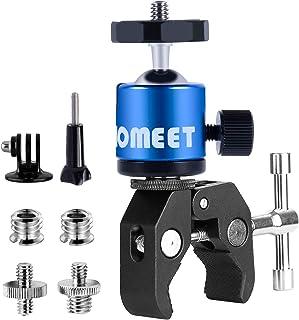 Clamp Soporte para Gopro Homeet Super Clamp con Rótula con Agujeros Roscados 1/4 y 3/8 Soporte Cámara Flexibles Pinza Clamp para Monitor LED Flash Cámara Micrófono GPS (Azul)