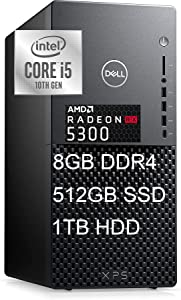 Dell XPS 8940 Special Edition Flagship Gaming Tower Desktop 10th Gen Intel Hexa-Core i5-10400 16GB DDR4 256GB SSD 1TB HDD AMD Radeon RX 5300 3GB WiFi USB-C Bluetooth Win10 Black