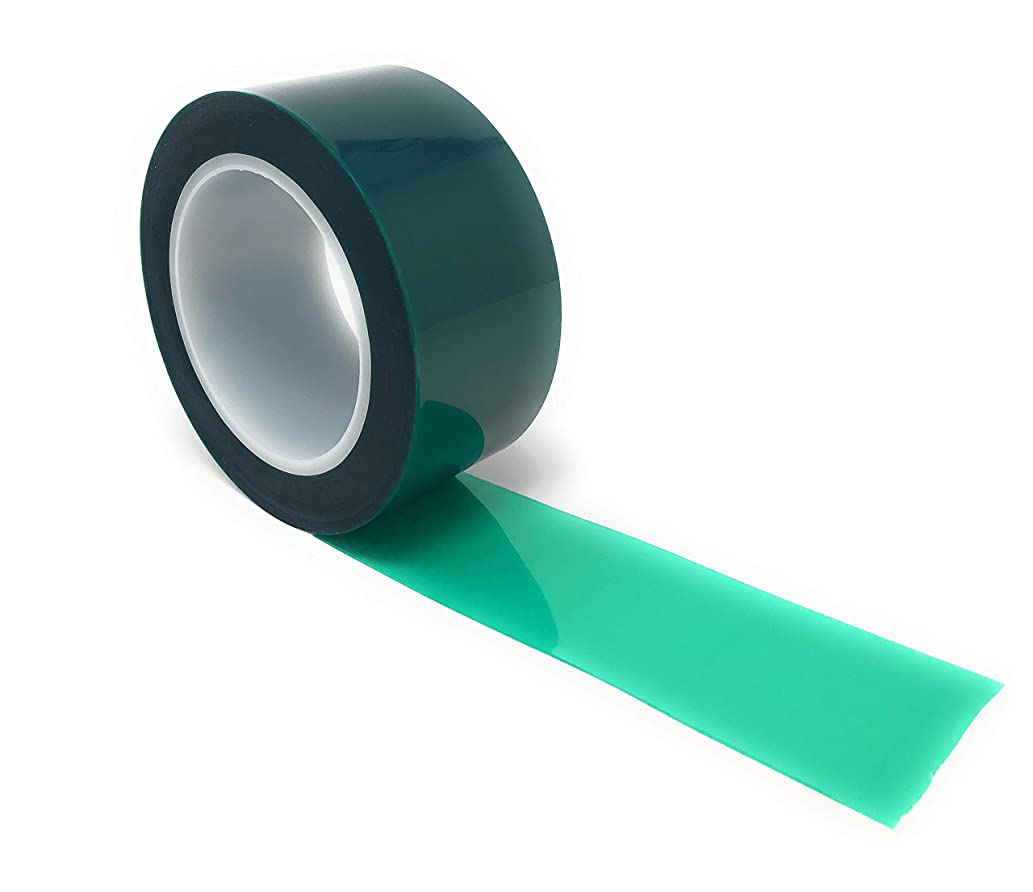 APT, (2'' X 72 Yds, Green), 2 Mil Polyester Tape with Silicone Adhesive, PET Tape,Mylar tape, high Temperature Tape, 3.5 mil Thickness, Powder Coating, E-Coating, Anodizing, high temp masking.(2 inch)