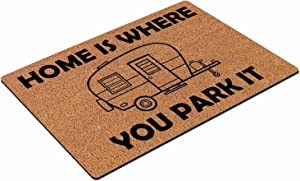 Home is Where You Park It RV Camper CampingCoconut Shell Floor mat, Multifunctional Floor mat, Non-Slip Absorbent, Suitable for Home, Gym, Garage, Door, Indoor or Outdoor use