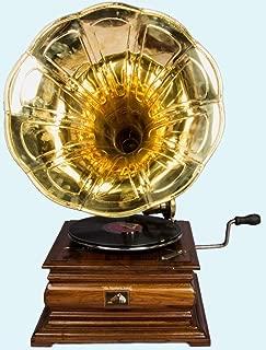 Antiques World Vintage Hmv Brass Horn Phonograph Antique Music Box Wooden Gramaphone AWUSAHB 039