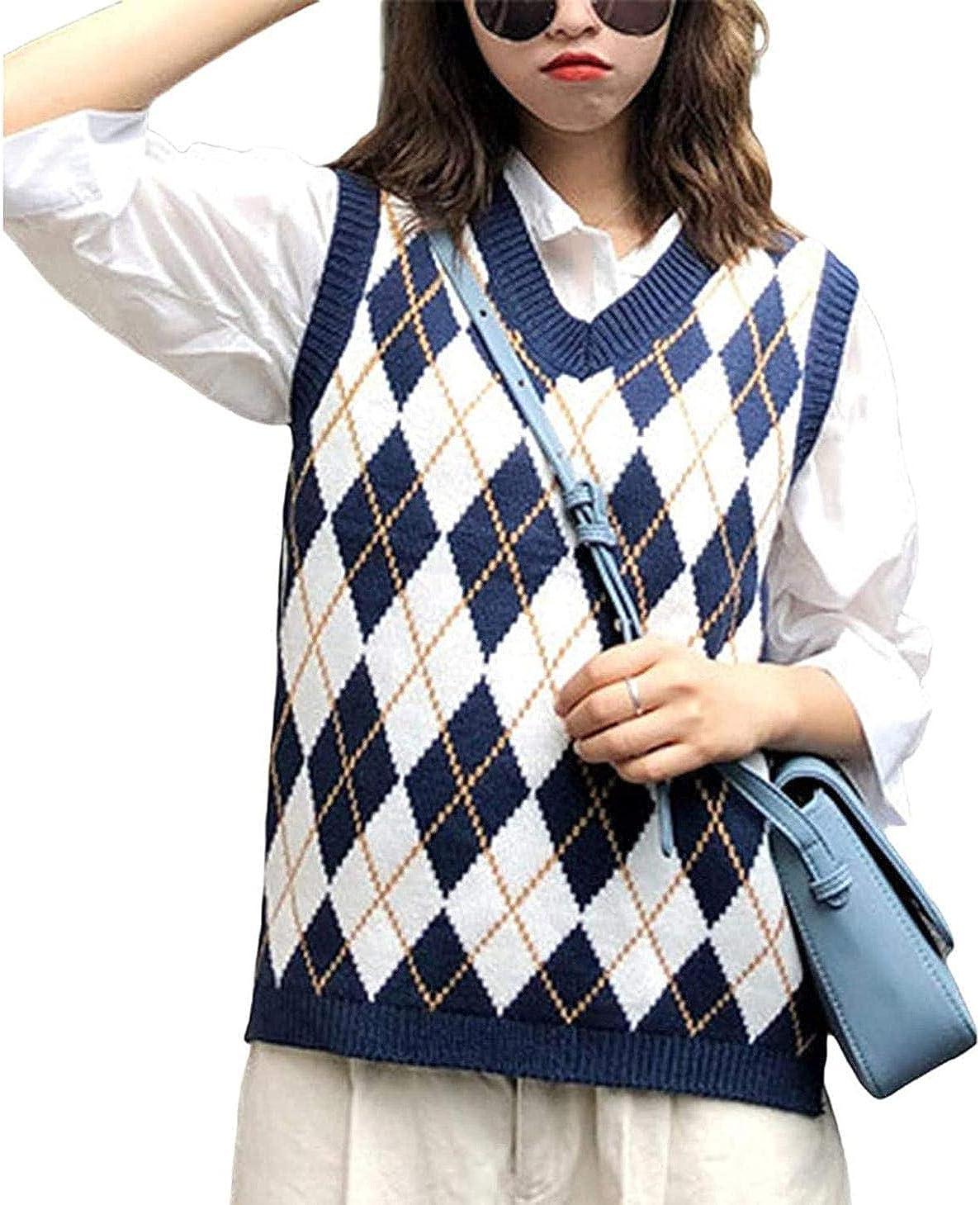 Womens Casual Plaid Knitted Tank Top Knitwear Preppy Style V-Neck Vest Sweater Vintage Streetwear Crop