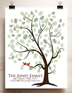 Thumbprint Tree Canvas or Paper Guestbook Alternative for Fingerprints Family Tree Print with Love Birds