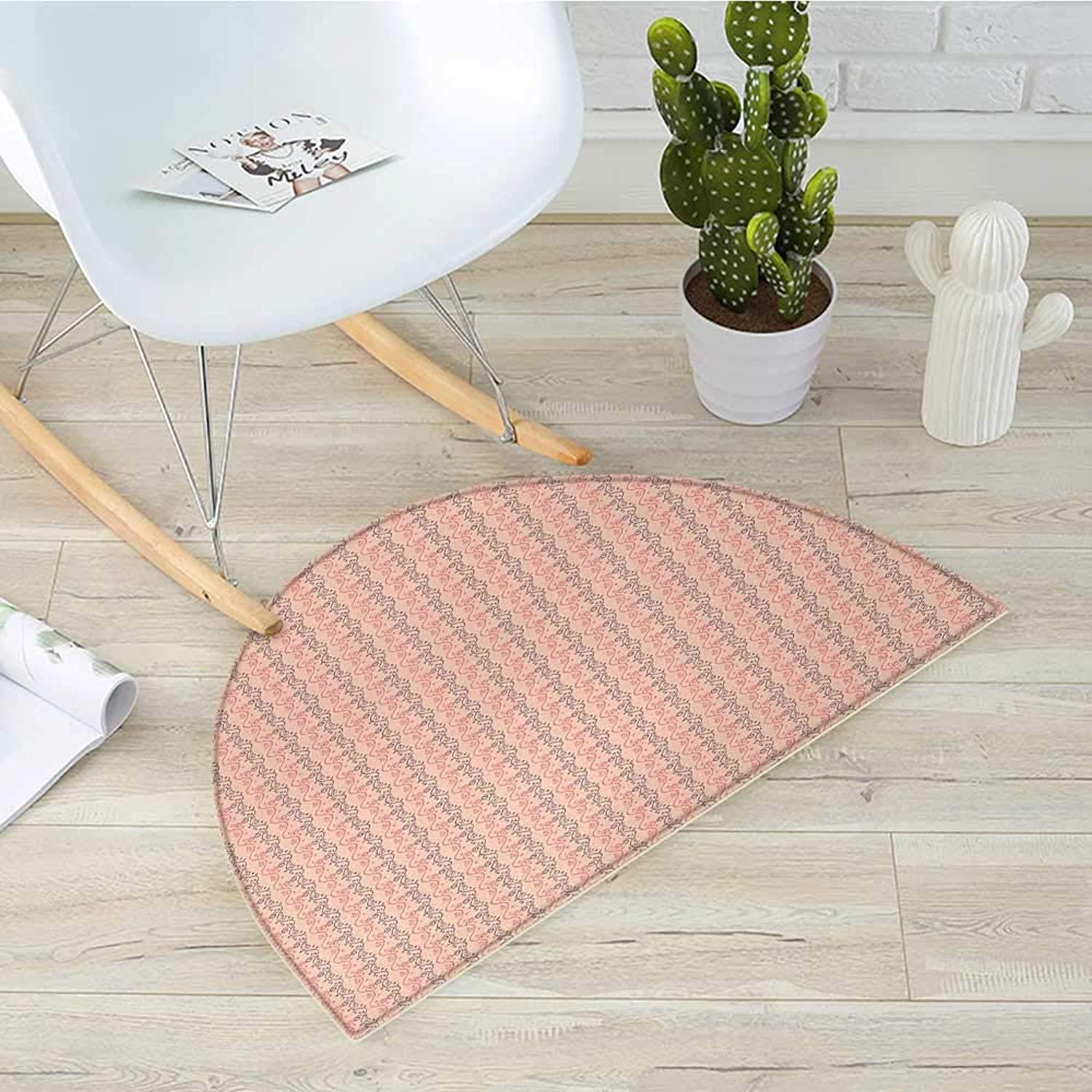 Floral Semicircular Cushiongreenical Abstract Flowers Design with Heart Shaped Leaves Romantic Print Entry Door Mat H 23.6  xD 35.4  Coral Soft Pink Purple