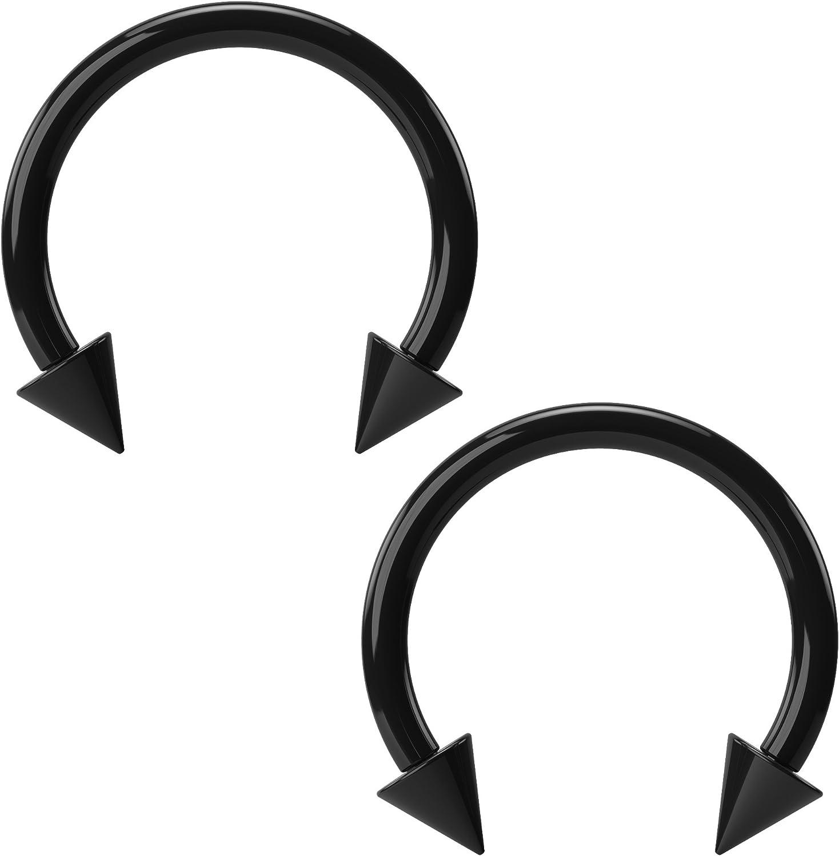 2pc 16g Acrylic Black Horseshoe Earrings Circular Barbell Daith Helix Tragus Hoop Piercing Lip Spike