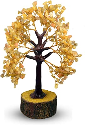 Reiki Crystal Products Golden Quartz Tree Crystal Stone Tree 500 Beads Crystal Tree for Reiki Healing and Vastu Correction and Increase Creativity Tree (Color : Yellow)
