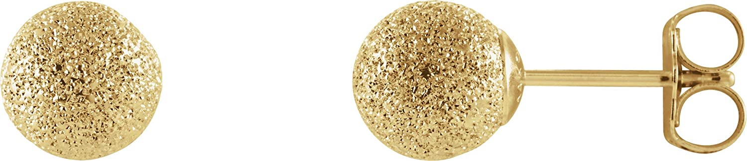 Solid 14K Yellow Gold 6 mm Stardust Ball Earrings