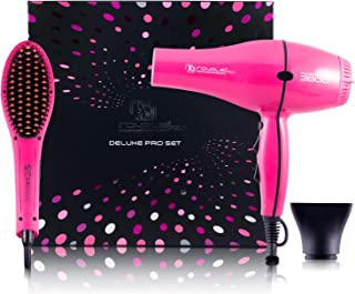 4-Piece Deluxe Professional Blowout Set: Soft Touch Straightening & Styling Brush - Pink + Professional Turbo Tourmaline Blow Dryer (2 Concentration Nozzles Included)