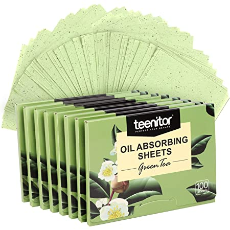 800 Counts Natural Green Tea Oil Control Film, Teenitor Oil Absorbing Sheets for Oily Skin Care, Blotting Paper to Remove Excess & Shine