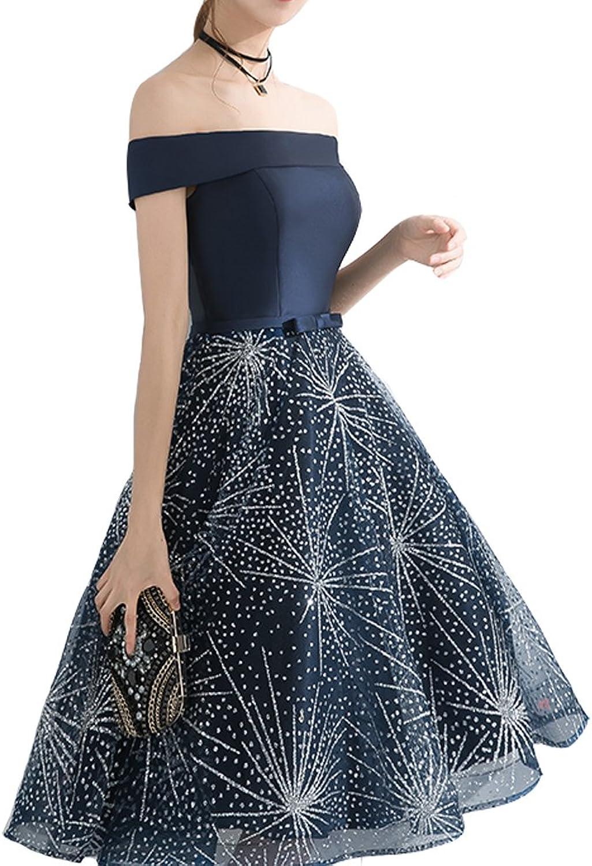 Lemai Shoulder Shiny Sequins Star Short Prom Evening Cocktail Dresses