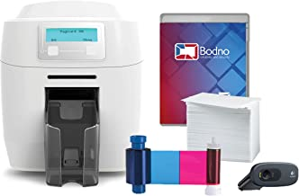 Magicard 300 Dual Sided ID Card Printer & Complete Supplies Package with Silver Edition Bodno ID Software