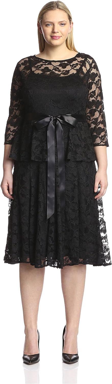 Chetta B Plus Women's Lace Peplum Dress