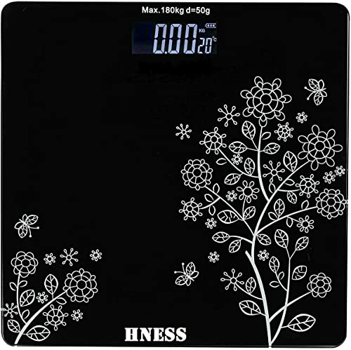 HNESS Electronic Thick Tempered Glass LCD Display Electronic Digital Personal Bathroom Health Body Home Medical Supplies Equipment weight scale for human body Health Personal Care