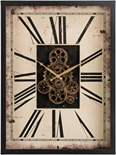 """Glitzhome 23.75"""" H Vintage Wall Clock, Vintage Rectangle Gear Clock with Tempered Glass Roman Numeral Clock for Livingroom..."""