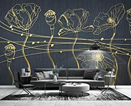 Wallpaper 3D Golden Embossed Line Drawing Flower Modern Custom Photo Wallpaper Murals Wall Decor