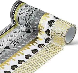 エーモード(AMODE) マスキングテープ セット 幅広 細め 30mm 15mm 5mm 長さ 3m 10個入 入れ物付き かわいい キラキラ 柄 デコレーション マステ グレー