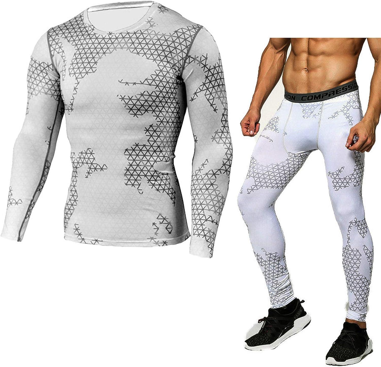 Men's Compression Shirt Pants Workout Set Fitness Quick Dry Printing Sports Suit