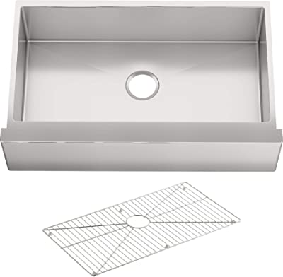 "KOHLER K-5415-NA Strive Self-Trimming Farmhouse Undermount Large Single-Bowl Kitchen Sink with Tall Apron, 35 1/2 x 21 1/4"", Stainless Steel"