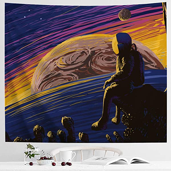 IcosaMro Space Tapestry Astronaut Men Wall Decor 60x82 7 Hemmed Edges Hooks Cool Stars Planets Mars Earth Wall Hanging Art For Bedroom Living Room College Dorm