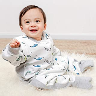 RESTCLOUD Muslin Baby Sleeping Bag Sack with Feet Summer, Bamboo Wearable Blanket with Legs for Toddler, 0.6 TOG (Unicorn Whale, 18-36 Months)
