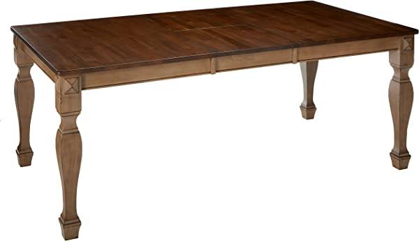 Kings Brand Almon 2 Tone Brown Wood Rectangle Dinette Dining Room Table With 18 Inch Butterfly Extension Leaf