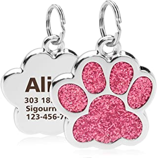 TagME Personalized Dog & Cat ID Tags,Bling Bling Paw Print Stainless Steel Pet Tags,Up to 4 Lines Custom Text Engaved