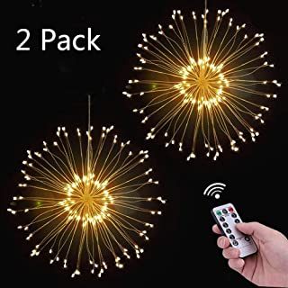 Firework Fairy Light, 2Pack120 LED 8 Modes Dimmable Decorative Fairy Lights Starburst Copper Wire Twinkle Light with Remote Control for Indoor Outdoor Garden Wedding Christmas Party Decor (warm white)