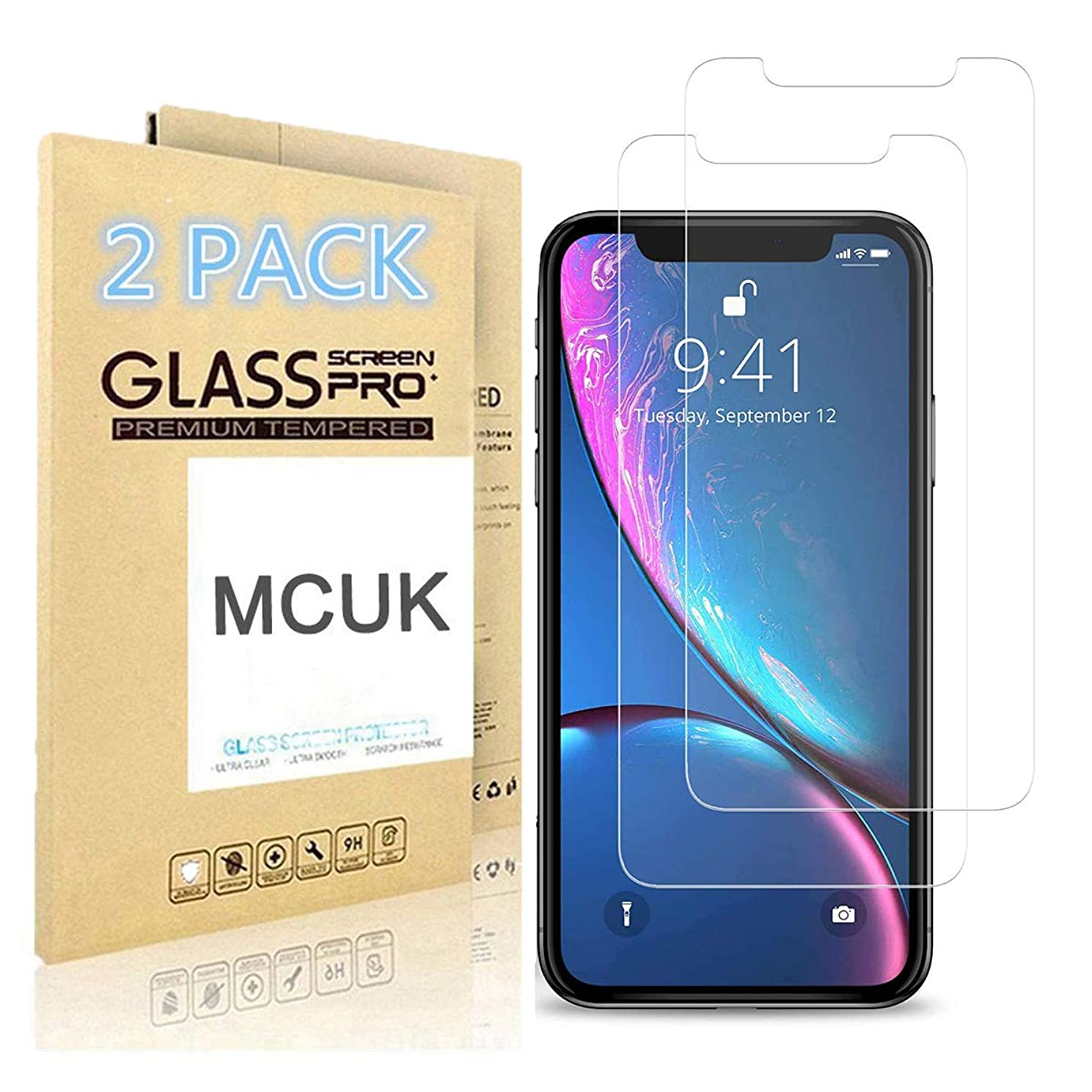 MCUK Screen Protector Compatible with iPhone XR, Double Defence Technology Tempered Glass [2.5D Edge] Screen Protector [Case Friendly] for Apple iPhone XR 6.1 inch