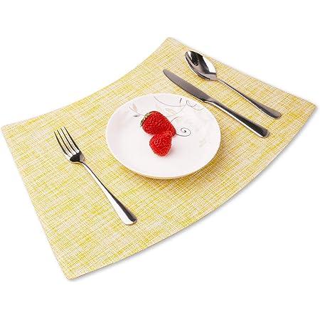 Amazon Com Convetu Placemats For Round Tables Pm05 Kitchen Dining Wedge Table Mats Set Of 4 Modern Solid Color Textilene Pvc Vinyl Non Slip Heat Resistant Washable Beige Home Kitchen